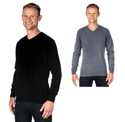 Ugholin Men's 100% Pure Cashmere V-Neck Jumper