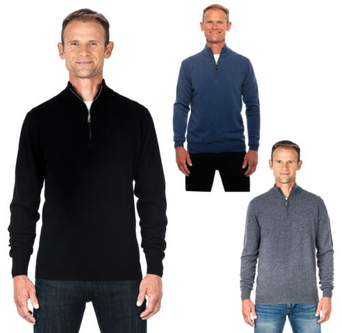 Ugholin Men's 100% Pure Cashmere Half Zip Mock Neck Jumper