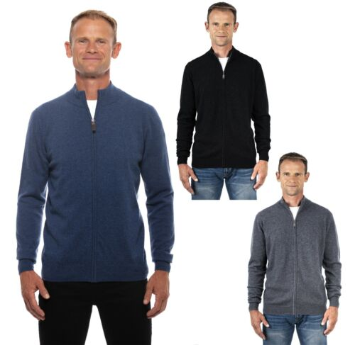 Ugholin Men's 100% Pure Cashmere Full-Zip Mock Neck Cardigan