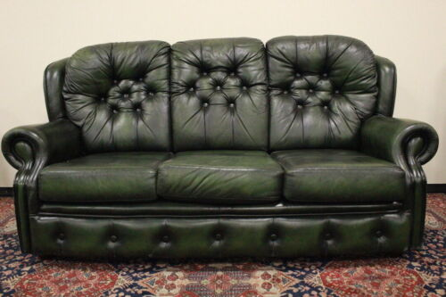Divano 3 posti chesterfield chester inglese pelle colore verde  / originale UK