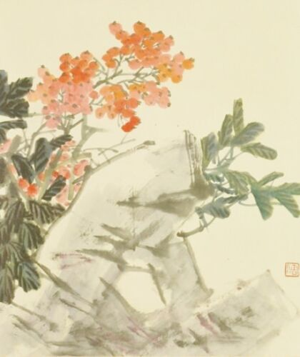 CHINESE PAINTING LANDSCAPE HANGING SCROLL Picture Rock Art Antique China c349