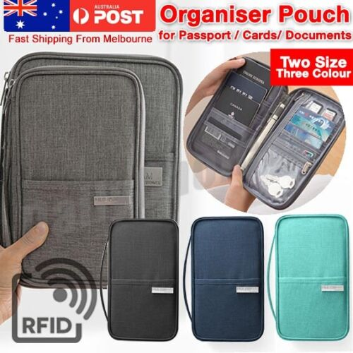 Waterproof Passport Holder Travel Document Wallet RFID Bag Family Case Organizer