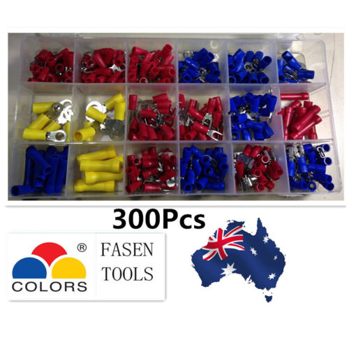 Electrical Wire Connector Insulated Crimp Terminals Spade Assorted Set 300Pcs