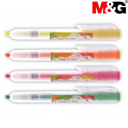 M&G Fluo-Click Retractable Highlighter Orange Green 1mm 4mm Chisel Tips AHM27371