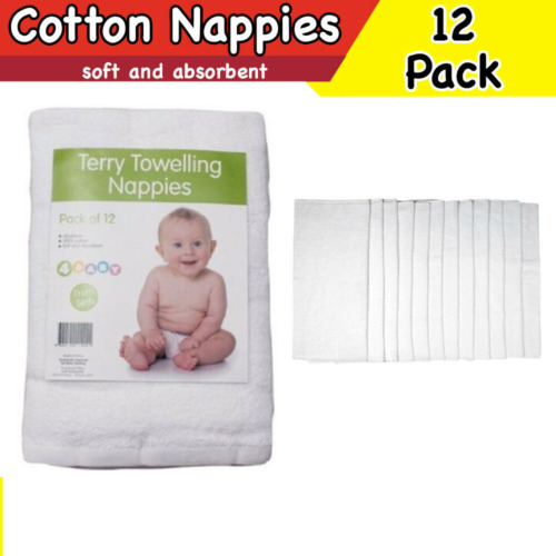 Cloth Cotton Nappies Terry Toweling Reusable Soft Nappy Infant Newborn 12 PACK