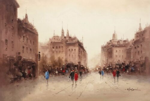 European Street, Impression  #1, Oil Painting on Canvas, 24x36,100% Hand Painted