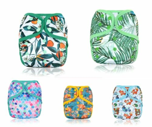1 x ICLOTHUP Double Gussets  Baby One Size Cloth Nappy Cover Wrap Waterproof