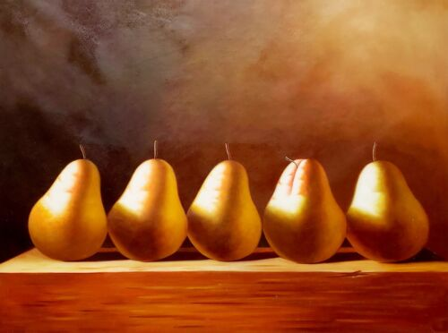 Pears,  36x48, 100% Hand Painted Oil Painting on Canvas