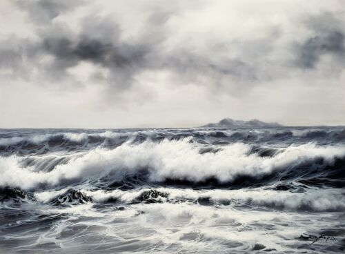 B/W Ocean Wave- #4, 36x48, 100% Hand Painted Oil Painting on Canvas