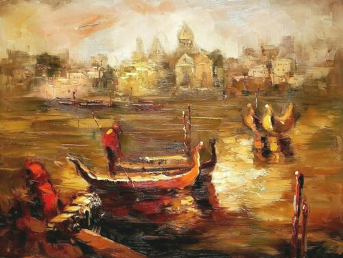 Venice Sunset- #1, 36x48 100% Hand painted Oil painting on Canvas,