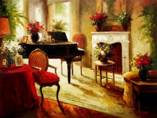 Piano Room, 36x48 100% Hand Painted Oil painting on Canvas,