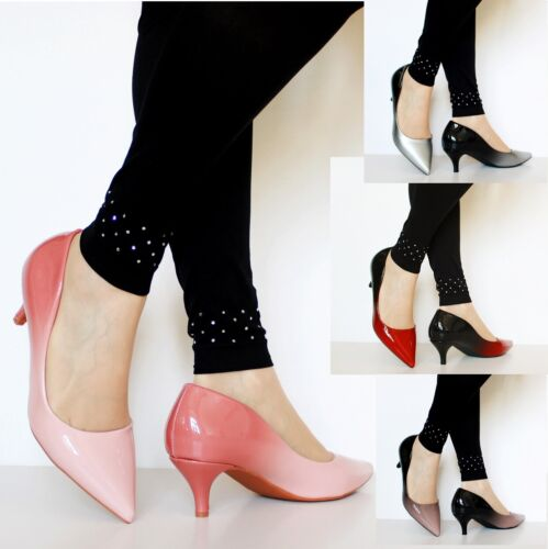 Women Ladies Party Evening Two Tone Patent Low Kitten Heel Court Shoes Size 1699