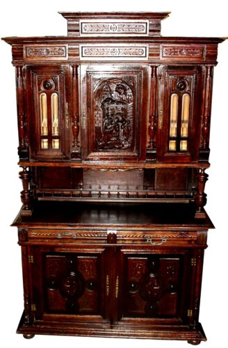 19th C. English Oak Court Cupboard