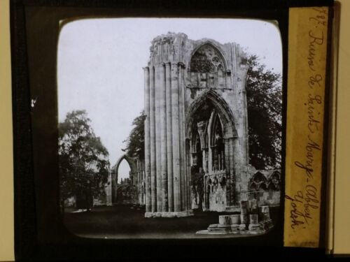 Ruins of St. Mary's Abbey, York, England, Magic Lantern Glass Photo Slide