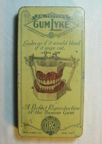 ULTRA RARE DR. TEPPER'S GUMLYKE AMERICAN RUBBER TIN AMAZING GRAPHICS & SLOGAN