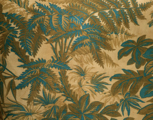 Antique French Botanical Foliage Cotton Fabric ~Prussian Blue Brown~ Aged Patina