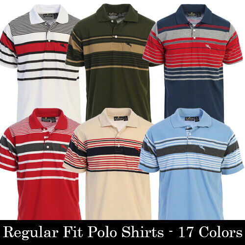 Platoon Mens Regular Fit Striped Short Sleeve Polo Shirt with Pocket - 17 Colors <br/> Authorized Distributor - Ships in 1 Business Day!