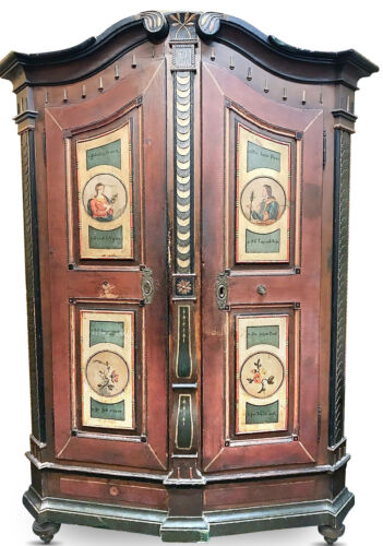 18th C. German Hand Painted Cabinet, Shrank or Shrunk, Armoire w/ Original Key