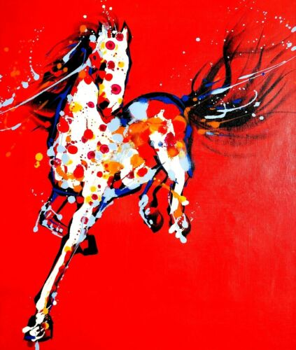 Abstract Red Horse,  20x24,100% Hand Painted Oil Painting on Canvas
