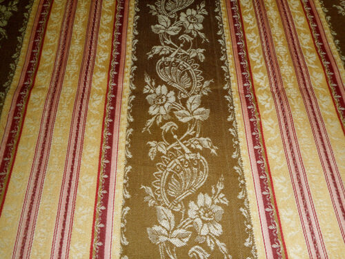 Antique French 19th Floral Stripe Cotton Damask Ticking Fabric ~ Brown Bordeaux