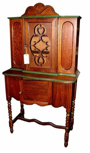 Antique English Jacobean Style Single Door Breakfront China Hutch with Cupboard