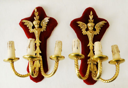 Antique French Louis XV style bronze pair of sconces Solid chiseled bronze