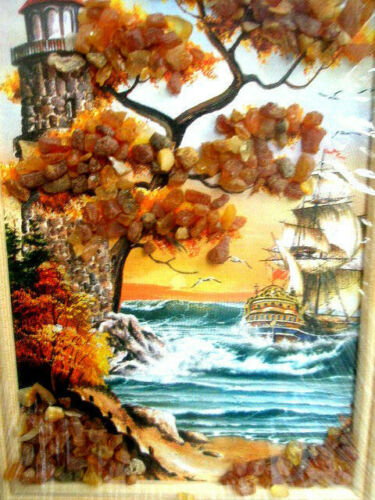 PICTURE LANDSCAPE OF BALTIC SEA  WITH BALTIC AMBER / LIGHTHOUSE/ SHIP/ SEAGULL