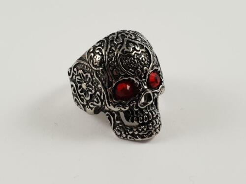 Stainless Steel Skull with red garnet style eyes biker ring calavera tribal