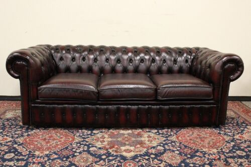 Bellissimo divano 3 posti Chesterfield / Chester inglese / UK / pelle bordeaux