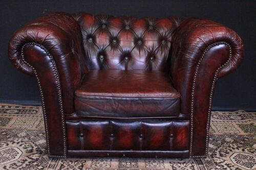 Poltrona originale inglese Chesterfield Chester club / pelle bordeaux / rosso