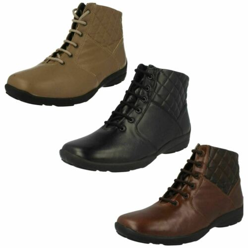 Ladies Easy B Leather EE Fit Lace Up Ankle Boots FACTORY SECONDS : Calypso