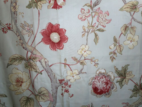 Vintage French or English Tree of Life Floral  Fabric ~ Red Blush Green Gray