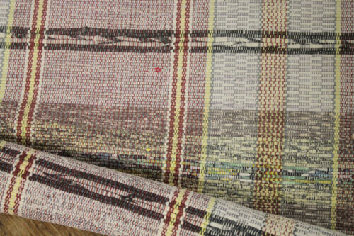 RAG RUG vintage European runner purple w/ yellow stripes carpet 4.2 yards long