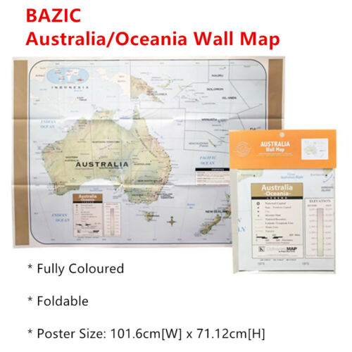 Folded Australia Shaded Relief Wall Map Oceania Color Poster New Zealand Atlas