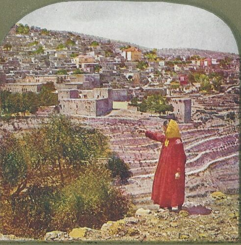 """Hasbeych, """"Where 6000 Christians Were Massacred in 1860"""", 1904 Stereoview Card"""