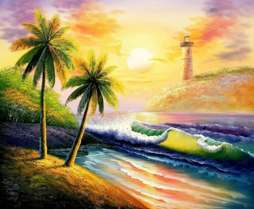 Sunset Beach - #3,  20x24,100% Hand Painted Oil Painting on Canvas