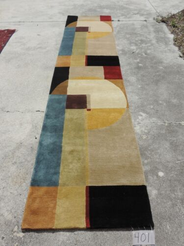3x12ft. Handmade Nepalese Geometric Wool Runner