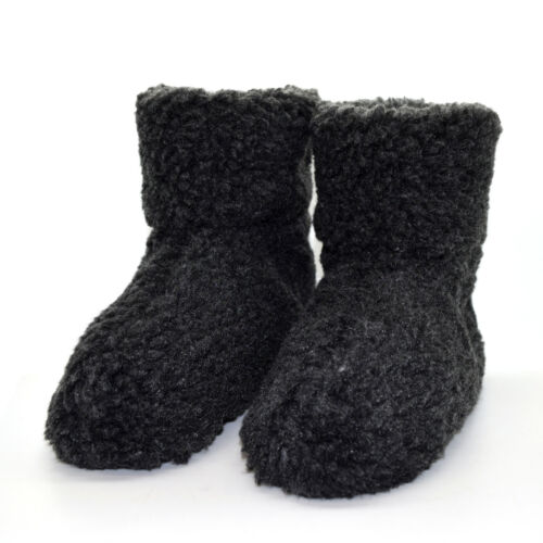 GREY WOMENS LADIES SLIP ON WARM FLUFFY FUR LINED SLIPPERS ANKLE BOOTS BOOTIES