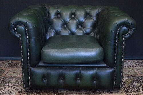 Bellissima poltrona Chesterfield /Chester club in pelle verde /originale inglese