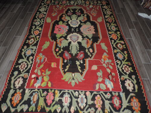 7x10ft. Handknotted Reversible Initialized Kilim Room Size Wool Rug