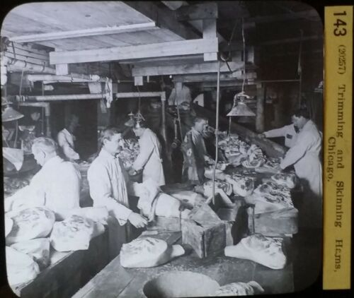 Trimming and Skinning Hams, Chicago, Circa 1910's, Magic Lantern Glass Slide
