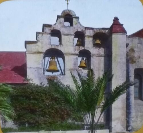 San Gabriel Mission, California, Circa 1910's, Magic Lantern Glass Slide