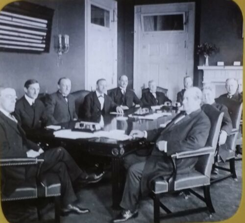 President Woodrow Wilson and His War Cabinet, 1910's, Magic Lantern Glass Slide