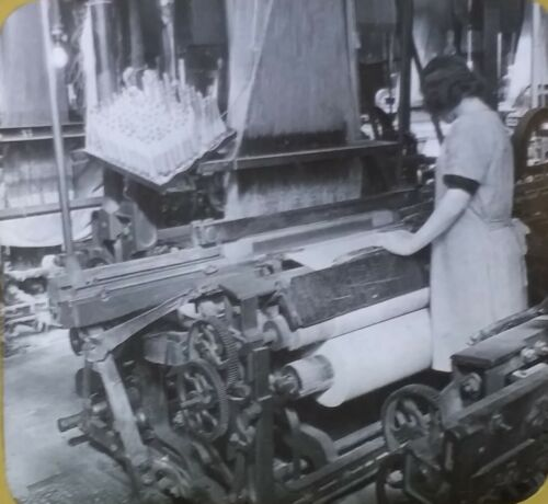 Weaving Linen Fabric, Guelph, Ontario, Canada, 1910's, Magic Lantern Glass Slide
