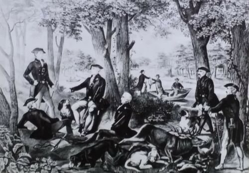 George Washington and Friends After a Day's Hunt, Magic Lantern Glass Slide