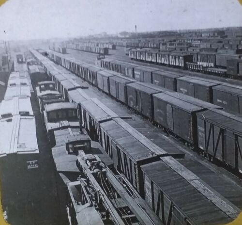 Train Freight Cars in a Railroad Yard, Circa 1910's Magic Lantern Glass Slide