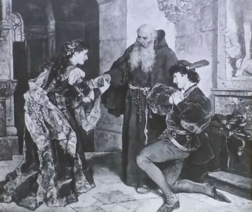 Romeo and Juliet at the Friar's, Carl Becker Painting, Magic Lantern Glass Slide