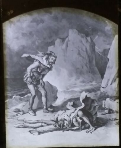 Trinculo and Caliban, The Tempest, FOC Darley Drawing, Magic Lantern Glass Slide