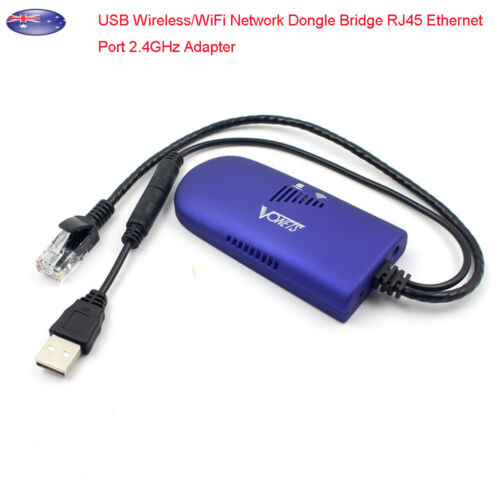 USB Wireless/WiFi Network Dongle Bridge RJ45 Ethernet Port 2.4GHz Adapter Cable