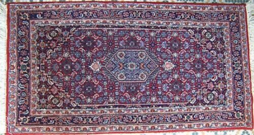 """32""""x62"""" WOOL HANDKNOTTED RUG DEEP RED GREY, OFF WHITE MEDALLION DESIGN BORDERS"""